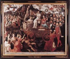 CLAEISSENS, Pieter the Younger (b. ca. 1540, Brugge, d. 1623, Brugge) Click! Allegory of the 1577 Peace in the Low Countries 1577 Oil on oak panel, 159 x 198 cm Groeninge Museum, Bruges The Allegory of the 1577 peace in the Low Countries, painted by Pieter Claeissens the Younger, is a complex, symbolic scene with a Roman triumphal chariot. Such vehicles often carried victorious, allegorical figures in propaganda pieces of this kind.