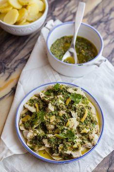 Mediterranean chicken salad with preserved lemons. Italian dinnerware by @disheson