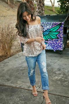 Glitter top and boyfriend jeans love this look