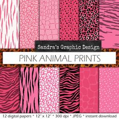 """Digital paper pack: """"PINK ANIMAL PRINT"""" with leopard , tiger, zebra prints, in pink, black and white, instant download (660)"""