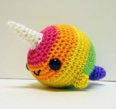 rainbow crochet | Rainbow Narwhal crocheted