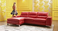 Jamila leather chaise lounge