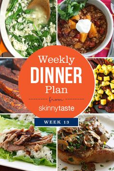 Happy Saturday,this is week 13 of sharing my weekly dinner plans, hopefully they willinspire your dinner choices for the week.I was sharing these every Sunday but since many of you shop on Saturdays I decided to change it to Saturdays moving forward.        I've alsoincluded a sample week ofThe Skinnytaste Meal Planner,a 52-weekmeal planner,food tracker and exercise tracker in one.I've included the Smart Points next to the recipes since Iam currently on Weight Watchers. By the…