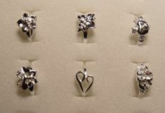 Size 7 Mixed Lot of 6 Butterfly Heart Flower Silver Rings Plated Valentines Day