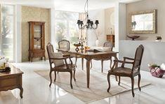 #Essgruppe #Vintage (5-teilig) - Esstisch & 2 Holzstühle & 2 Armlehnstühle - Birke massiv - Antik-Look - braun lakiert