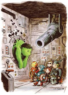 The Avengers look on as Winnie the Hulk stuck in a worm hole experiment  - SO CUTE