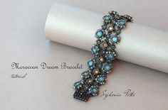 Moroccan Dream Bracelet Tutorial - Swarovski Crystals Bracelet - Beading Pattern - Digital Download by SidoniasBeads on Etsy https://www.etsy.com/listing/469952467/moroccan-dream-bracelet-tutorial