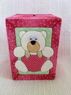 Cofrinho rosa ursinho   Ra & Ro Patchwork   188ACA - Elo7