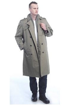 Khaki Trench Coats For Men - Genuine Dutch Army! Browse more varieties here www.mens-trenchcoat.co.uk/london-fog-trench-coats.html