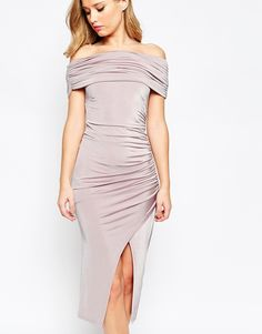 Image 3 of ASOS Off The Shoulder Bardot Slinky Drape Midi Dress