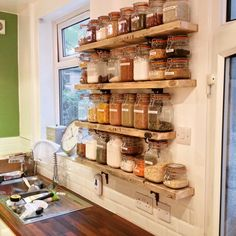 Kilner jar storage shelves from old scaffold boards and cast iron brackets upcycled for a great look in our kitchen remodel