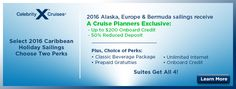 Celebrity Cruiselines are offering many discounts such as onboard credits, prepaid gratuities, internet packages and much more. Make your plans today to visit Bermuda, Alaska, Europe and other exciting destinations! Let one of our cruise specialists plan your dream vacation!