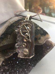 Amethyst Stone Necklace Silver Fairy Moon and Stars Leather Purple Grey Double Choker, Inner Peace and Healing Stone Leather Choker Necklace, Steampunk Necklace, Stone Necklace, Amethyst Stone, Amethyst Crystal, Sterling Necklaces, Silver Necklaces, Jewelry Shop, Handmade Jewelry