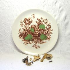 Green Brown Fruit Flowers Serving Tray