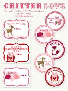 My Owl Barn: More Valentine Printables  Woodland Critter Love