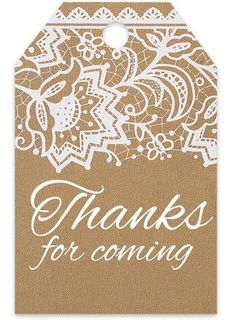 Thank You For Coming Kraft White Lace Vintage Printed Gift Tags 2-1/4'x3-1/2' - 50pack -- See this great product.