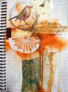 I like the orange on this altered art journal page Art Journal Pages, Art Journaling, Mixed Media Journal, Mixed Media Collage, Collage Art, Collages, Art Beauté, Arte Sketchbook, Fashion Sketchbook
