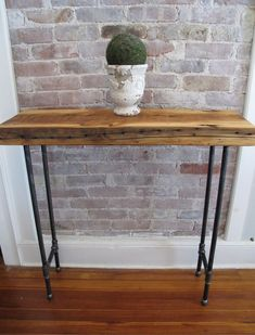 Industrial Console with Iron Pipe LegsReclaimed by LuckyBluDesigns