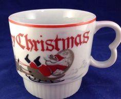 Vtg Stacker Christmas Mug Merry Santa Claus Sleigh Reindeer Retro 4 Coffee Cups