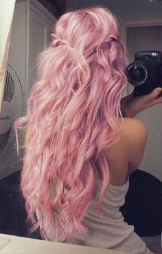 Curled pink perfection! #pink #hair