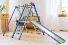 Handcrafted wooden jungle gyms for indoor play area that combine safety, fun, convenience, and multiple play features: ✓monkey bars ✓swing ✓slide ✓climber. Toddler Jungle Gym, Indoor Jungle Gym, Indoor Gym, Toddler Slide, Indoor Playset, Indoor Play Areas, Wooden Playset, Swing And Slide, Kids Gym