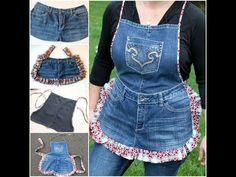 How to DIY farm girl apron from old jeans DIY Garden Apron From Old Jeans Diy Fashion, Ideias Fashion, Jeans Fashion, Fashion Ideas, Jean Diy, Artisanats Denim, Denim Purse, Denim Skirt, Jean Apron