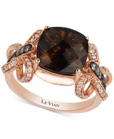 Le Vian Chocolatier® Smoky Quartz (3-1/4 ct. t.w.) and Diamond (1/5 ct. t.w.) Ring in 14k Rose Gold | macys.com