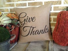 Fall 'Give Thanks' Burlap Pillow  Insert by SimplyFrenchMarket