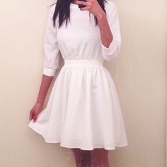 ASOS White Long-Sleeved Dress in perfect condition, very fitted and great for any semi-formal event ASOS Dresses Long Sleeve