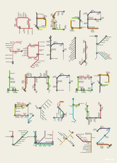 London-based designer and illustrator Tim Fishlock posterized Harry Beck's famous alphabet made of sections and lines from the London Underground map