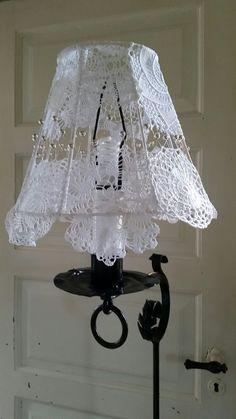 DIY Lampeskærm med blonder, ståltråd og perler