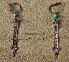 Get 10% off by using the discount code GUGREPKCAR at www.gugonline.com! Fearless Crystal Arrow on Turquoise and Bronze Earrings