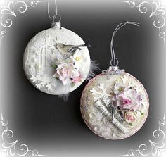 Christmas ornament embellished with paper crafting materials.  - Let's get shabby site