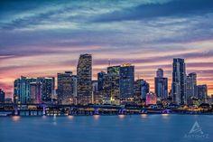 Miami Skyine Photography - Miami Skyline at Sunset, London Art, Miami Florida Print, Miami Skyline Photography Miami Skyline, New York Skyline, Sunset London, London Pictures, London Art, Sea Level, Miami Florida, United States, Fine Art