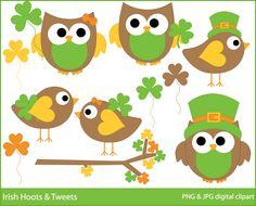 irish owls clipart st patricks day clip art birds digital  - BUY 2 GET 2 FREE - Irish Hoots and Tweets Digital Clipart. $4.95, via Etsy.