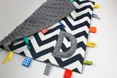 Personalized Navy Gray Chevron taggie blanket - blue Baby tag Lovey Security Sensory Ribbon Stroller Travel Minky via Etsy