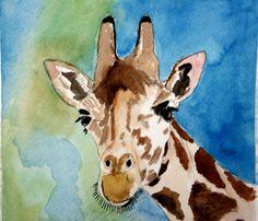 Giraffe  Watercolor  By:  Cheryl Brickner