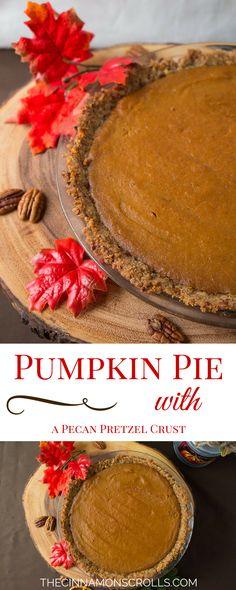 Traditional Pumpkin Pie with a Pecan Pretzel Crust   thecinnamonscrolls.com @cinnamonscribe