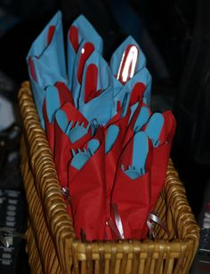 Red and Blue napkins and plasticware