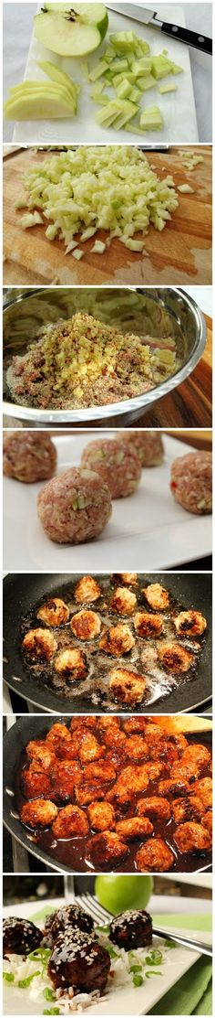 Apple Meatballs in Wine Sauce Recipe