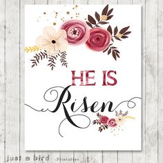 He Is Risen Easter Printable Art Print 8x10 by Justabirdprintables