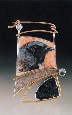 """Black-Throated Clue Warbler Pin"" acrylic on deer antler, sterling silver, 14k gold, druzy, psilomelane, blue topaz, opal  Ali Wieboldt Exhibiting member in Jewelry"