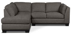 Bring fashion and relaxation together in your living room with this two-piece Oakdale linen-like left-facing sectional. Jam-packed with high-density foam, each seat cushion on this furniture piece will happily welcome you home at the end of every chore and errand you finish. Dark grey, linen-like upholstery enrobes this couch to create a chic and serene space for your family. As well, stitch-tufting on the sides and seats serves as a visual reminder of the comfort you can expect with this…
