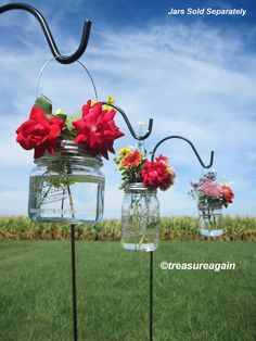 Wide Mouth Hanging Mason Jar with Flower Frog LIDS.  And because the DIY mason jar tinting is not waterproof, put a tiny clear jar inside if you tint, to hold the water for the flowers.