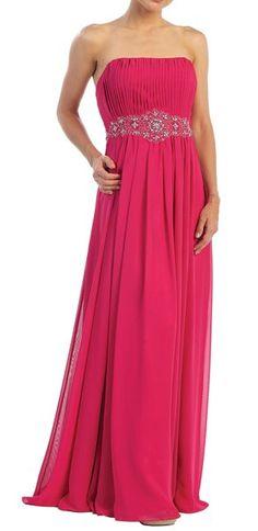 Long Strapless Fuchsia Evening Dress Chiffon Pleated Empire Beading  $132.99