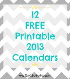 12 Free Printable 2013 Calendars