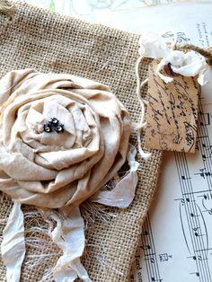 Muslin Rose on burlap bag