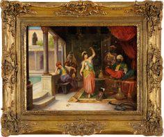 Duesseldorfer Auktionshaus  Undeutlich signiert Datiert: München 1880 Tanz der Favoritin. Öl/Holz, 34,5 x 45 cm