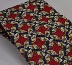 Silk USA Burberry Chain Link Red Navy Necktie Tie Silk London Floral Taupe #BurberryLondon #Tie