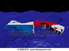 Panama map flag in abstract ocean illustration Drawing